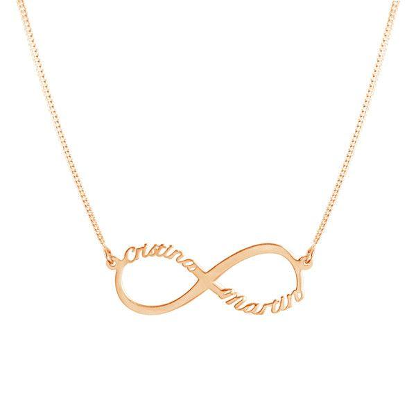Collar Infinito 2 Nombres Oro Rosa