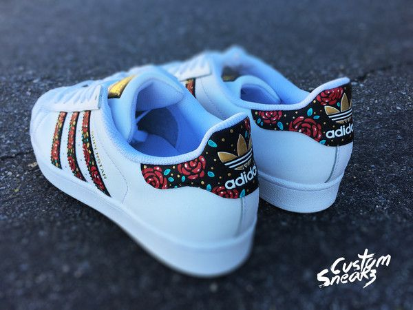 more photos 4d233 bae0d Custom Adidas Superstar for men and women, Adidas custom Hand Painted  floral design, Unisex sizes, Adidas superstar, Original   Ligit SHOES!