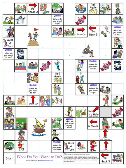 "The What Do You Want to Do? Board Game is meant for reviewing common things that young learners would typically want to do such as make a snowman, go on the swings, do a puzzle, or play basketball. The game is simple: If a student lands on a square with a picture, the student says, ""I want to,"" and then says whatever the picture is. If the student lands on a question square, the student simply answers the questions. To see how the board is connected look at the picture below."