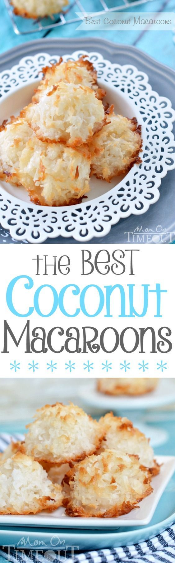 For the true coconut lovers out there - this is my all-time favorite recipe for the Best Coconut Macaroons!  Made without sweetened condensed milk, the delicate, sweet flavor of coconut really shines through.  Chewy on the inside and perfectly toasted on the outside, dry macaroons are a thing of the past.