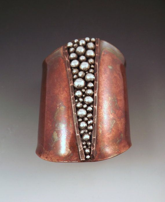 RedPaw, jewelry on Etsy. Copper Cuff - Powerful Goddess- Tribal Rustic Earthy- Boho Chic- Silver Granulation- Mixed Metal- Statement Cuff Bracelet, $199.00.