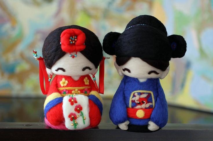 Cutie Korean Hanbok Couple--wedding cake topper.