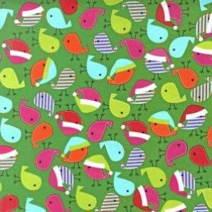 Robert Kaufman fabric Jingle Christmas Birds Bright