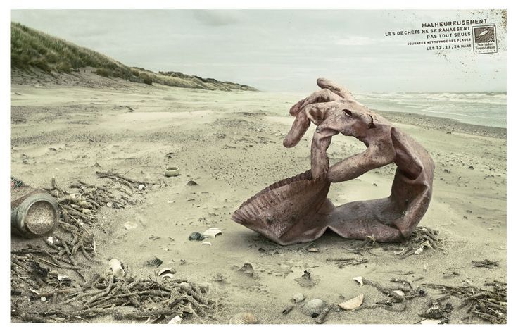 """Rubbish doesn't pick itself up!"". By Y&R Paris for the SurfRider Foundation."