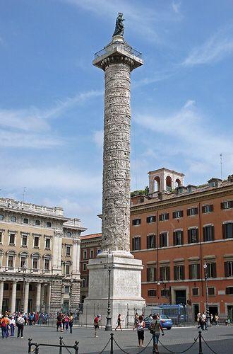 Roma , Colonna di Marco Aurelio, 180-193 . Marmo , altezza 40,50 m, diametro 3,80 m.