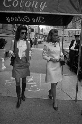Jackie Onassis with her favorite Kennedy sister, Jean Kennedy Smith in NYC.