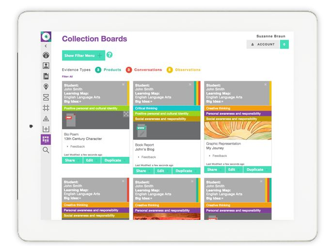 QUIO's Collection Board has a new look and improved functionality. You can select and upload multiple evidence types (products, conversations or observations) and filter student evidence by Learning Map and Big Ideas.