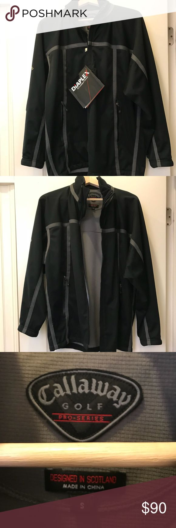 Men's NWT Callaway Golf Jacket Black NWT men's Callaway golf jacket.  Made of Diaplex —totally waterproof material. Great for golf but stylish enough to wear anytime. Callaway Jackets & Coats Performance Jackets