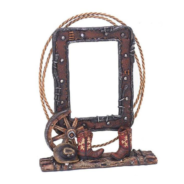 Boots and Wagon Wheel Photo Frame | Buffalo Trader Online