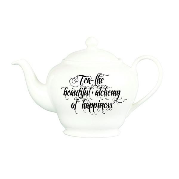 "'Beautiful Alchemy' Teapot: ""tea – the beautiful alchemy of happiness"" A simple, yet stylish typography inspired teapot #TheNewEnglish #BeautifulAlchemy #Tea #Teapot #MadeInStokeOnTrent #MadeInEngland #BritishMade #Gift #MothersDay #Happiness"