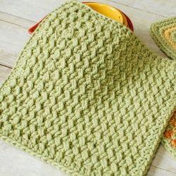 Crunchy Stitch Dishcloth Pattern | Looksi Square