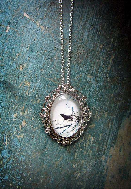 Raven Necklace - Crow Jewelry - Silver Bird Necklace
