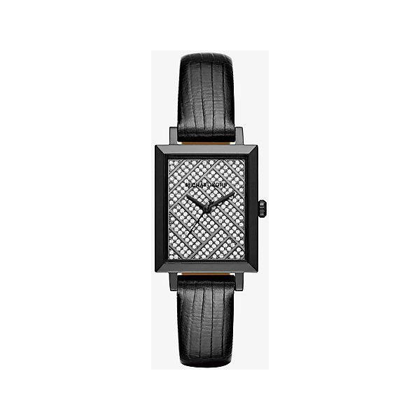 Michael Kors Michael Kors Harway Pave Gunmetal-Tone And... ($138) ❤ liked on Polyvore featuring jewelry, watches, black, leather wrist watch, leather jewelry, gunmetal watches, michael kors jewelry and pave jewelry