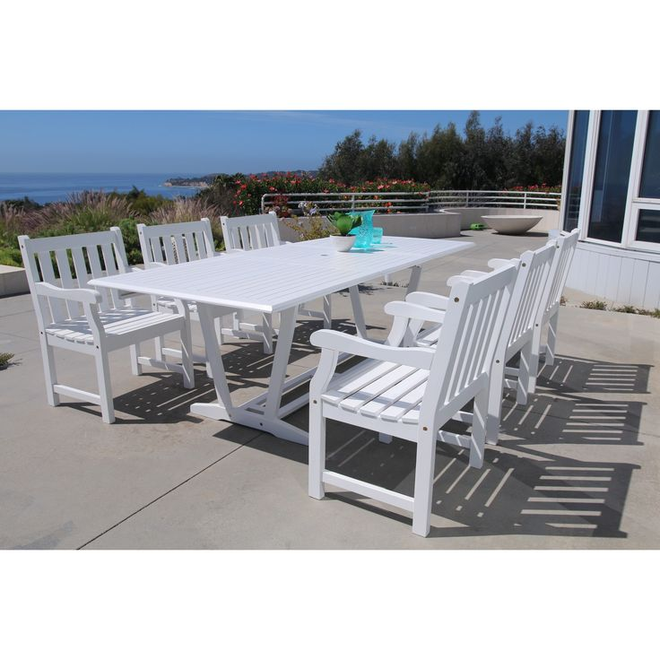 Vifah Bradley Eco-friendly 7-piece Outdoor Hard Dining Set with Rectangle Extention Table and Arm Chairs, Patio Furniture