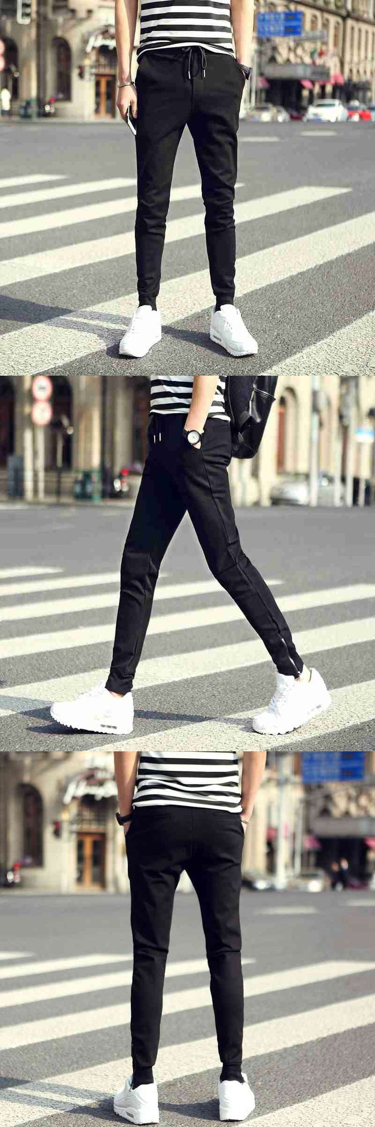 #2831 Spring Casual pencil pants Elastic waist Bottom with zipper Slim Fashion Plus size M-3XL Joggers men Compression tights