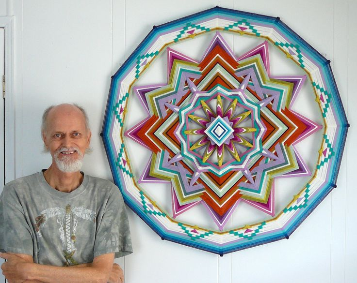 Springtime, a 36 inch, all wool yarn, 12-sided Ojo de Dios. $400.00, via Etsy.