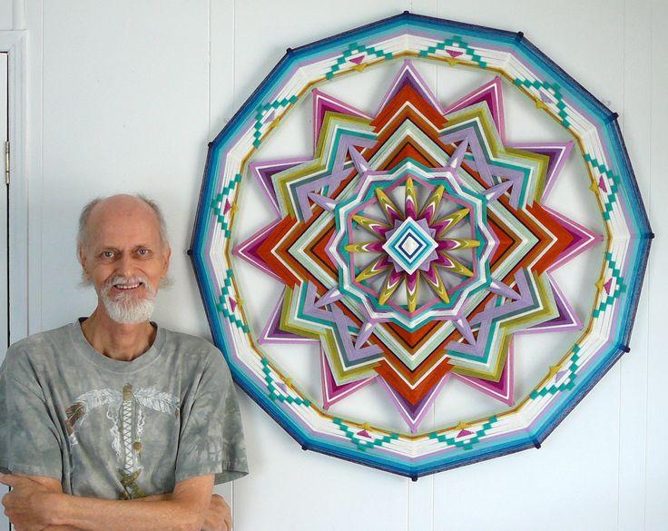 Springtime, a 36 inch, all wool yarn, 12-sided Ojo de Dios. $400.00, via Etsy.