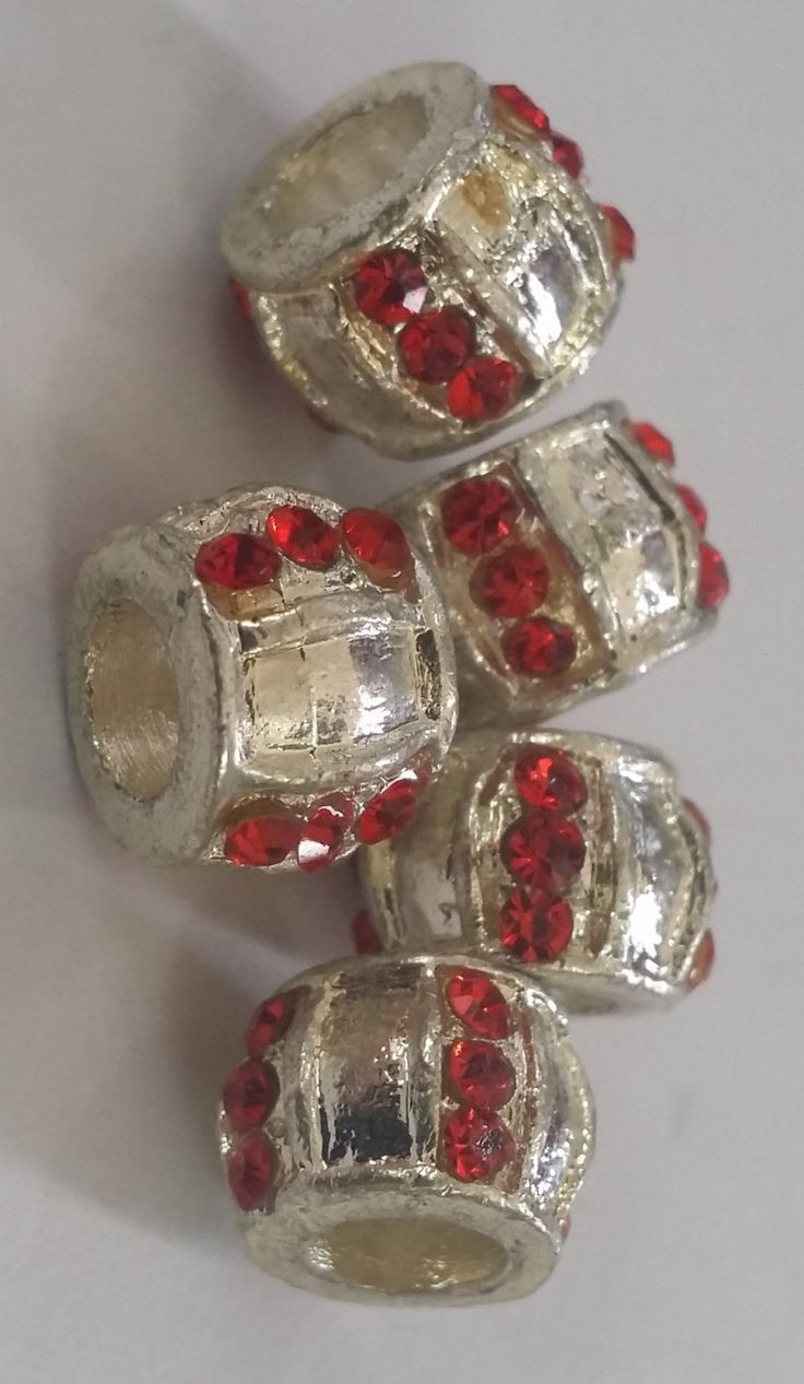 1 Red CZ Spacer Large 5 mm Hole  Beads fit European Jewelry - Only 5 available 85 by Adawnstyle on Etsy