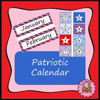 This patriotic calendar has a red, white and blue theme.  The calendar cards can be used to label student cubbies, hooks, tables, materials  After you print the product, I recommend laminating it.  If you are looking for similar items, check out these other products in my store.Classroom Jobs and Token Economy - Red, White and BlueYou can follow my store on TpT by clicking on the green star by my logo.