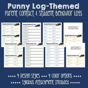 Simplistic and convenient forms to keep track of parent communication and student behavior! Forms are designed for one student or two students to a page. They come in four different color themes and four different styles. One style is only half a page and allows for