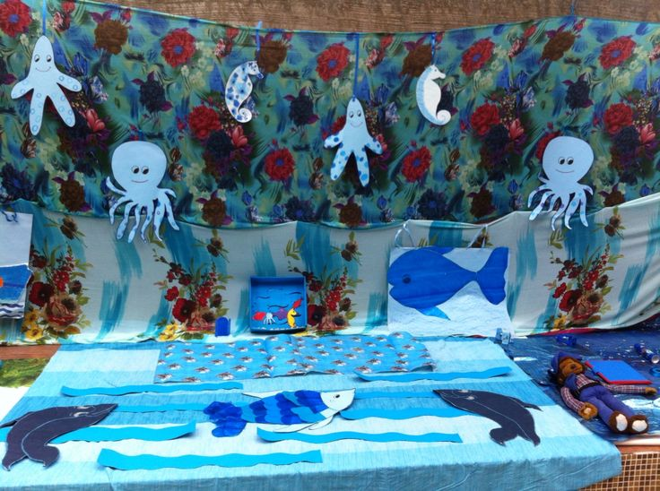 celebrating colour blue in a preschool with ocean theme blue day