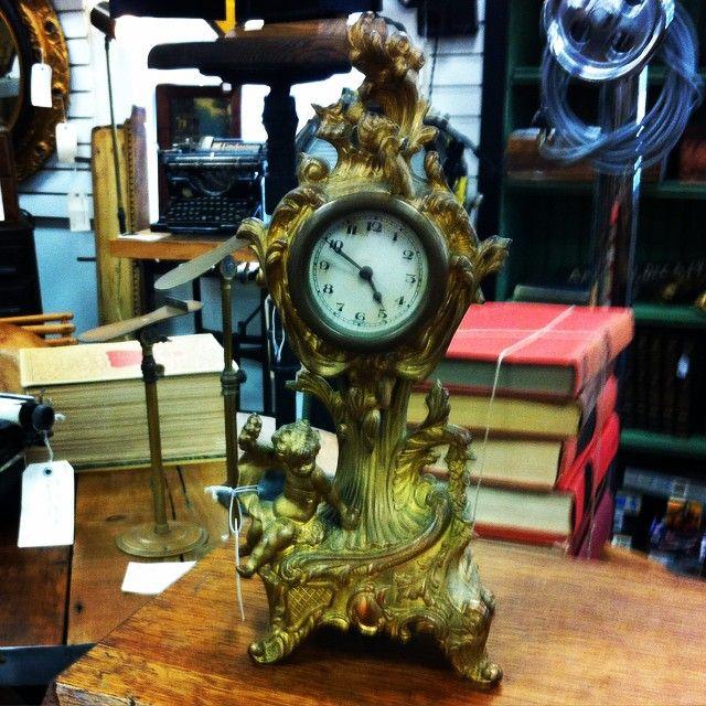 1901 Cherub Mantel Clock Barrel Antique Mall 522 Hindsstudio