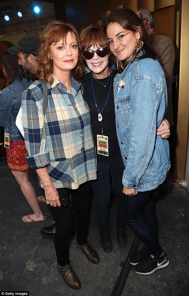 Star power: Susan Sarandon, 70, Frances Fisher, 64, and Woodley united for a common cause...