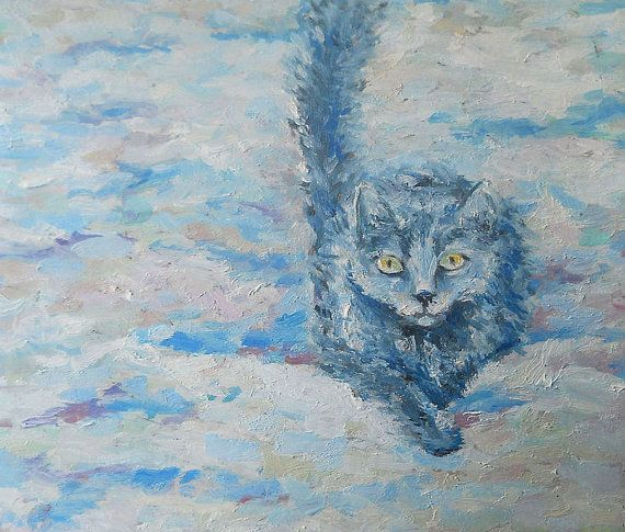 Blue cat Original Oil Painting Impression Palette by FrozenLife