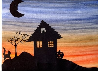 For our Halloween Stories. Do something similar for Halloween. Use watercolor for background, cut haunted house, etc. out of black construction paper and glue to dried background.
