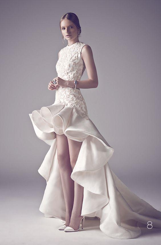 Fashionable Wedding Dresses Short Front Long Back Satin Appliques White High Low Bride Dress Romantic Sexy vestido de noiva 2015