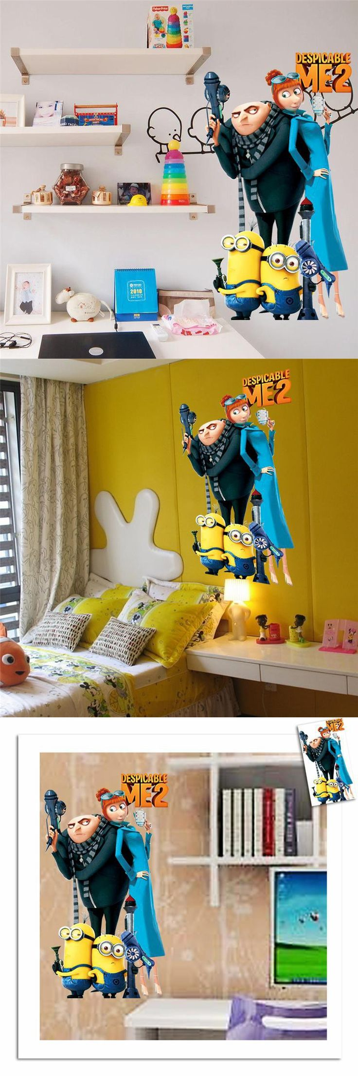 Les 25 meilleures ides de la catgorie film minions sur pinterest minions film children room wall stickers home decor diy pvc 1409 despicable me stickers 3d cartoon children gift wall art 35 amipublicfo Images