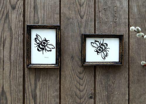Miniature Framed Prints - sweet little bees by Teena Marie Fancey