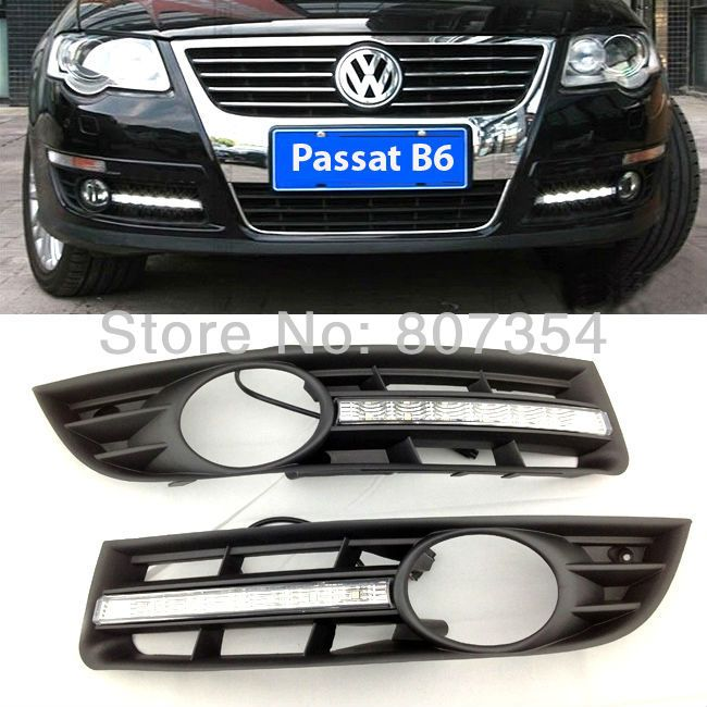 free shipping, Excellent LED Fog light For VW/Volkswagen Passat B6 2006-2009, LED Fog lamp as DRL, Ultra-bright illumination $89.00