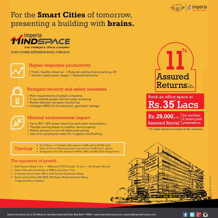 Presenting Mind Space, the intelligent office complex by Imperia Structures For the Smart Cities of tomorrow, presenting a building with brains, located at Golf Course Extension Road Gurgaon. #ImperiaMindSpace #ImperiaStructures #Gurgaon #SmartCity