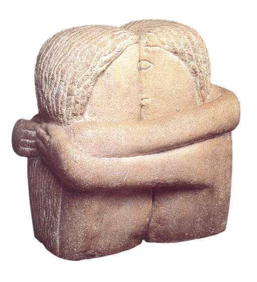 Constantin Brancusi, Le Baiser, 1907-1908 > inspiration de Baiser de Rodin MAIS encore EVOLUTION radical de la sculpture vers la GEOMETRISATION