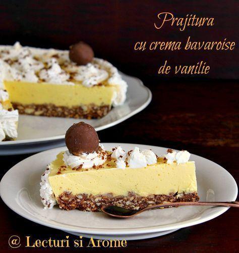 Prajitura cu crema bavareza de vanilie este o prajitura simplu de facut si foarte gustoasa. Are un blat din biscuiti, facut la rece si o crema de vanilie.