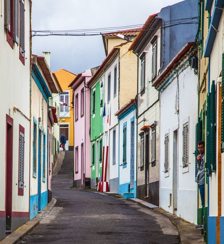 A typical narrow street in San Miguel, Azores.