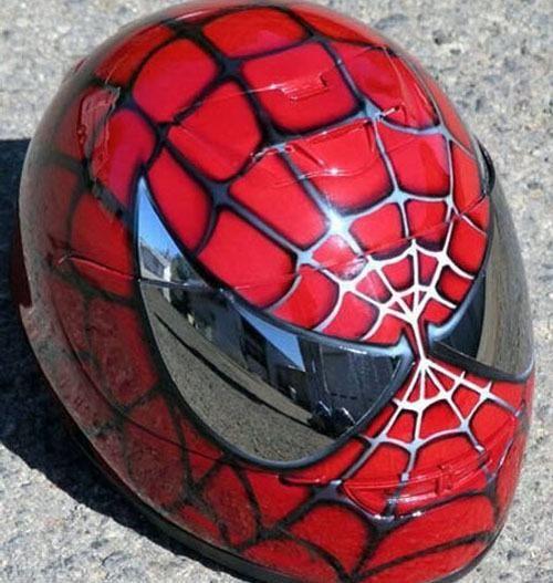 Spider-Man motorcycle helmet. Serious geek cred :)