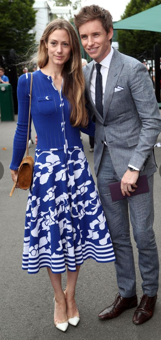 Eddie Redmayne and Hannah Bagshawe in Wimbledon today!!