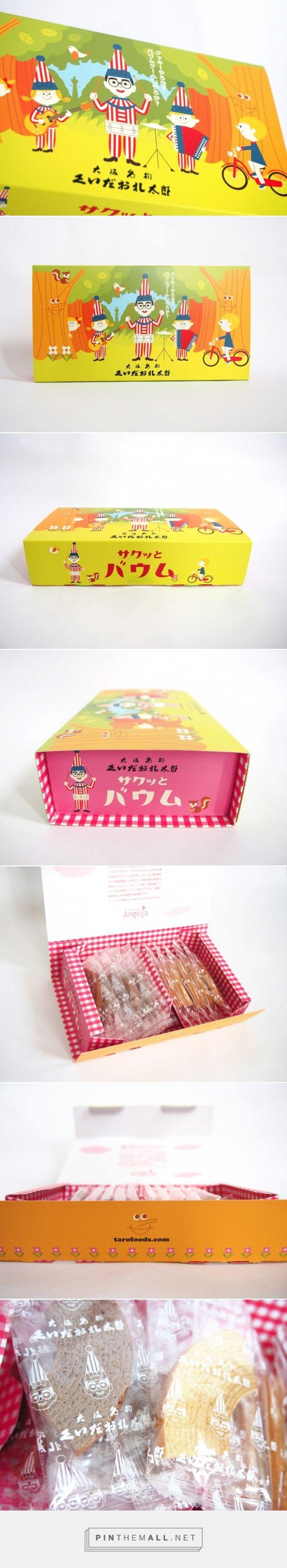 大阪のおみやげに。太郎フーズの「くいだおれ太郎のサクッとバウム」  –  KAWACOLLE かわいいデザインのコレクションサイト curated by Packaging Diva PD. Looks like cute snacks or cookie packaging from TaroFoods.