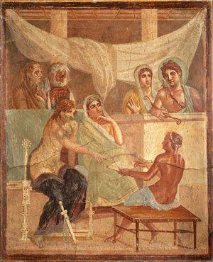 Fresco recuperado de la ciudad de Pompeya y en exhibición en el Museo de Nápoles.