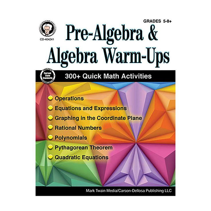 Pre-Algebra and Algebra Warm-Ups for grades 5 to 8+ provides students with daily math activities to get them warmed up for the lessons ahead and to review lessons learned. Each page features four warm