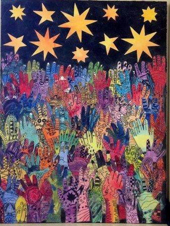 Reach for the Stars: With heart and helping hands we can accomplish anything. Matariki idea.