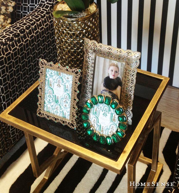 These beautiful lattice and emerald picture frames are as good as gold in a fall living room. #wall #decor #accents #art / Ces jolis cadres photo à motif treillis et ornés de pierres couleur émeraude trouveront leur place dans n'importe quel salon cet automne. #mur #deco #decoratif #art  Enter Contest: http://www.HomeSense.ca/HomeSenseStyle Participer: http://www.HomeSense.ca/HomeSenseStyleFr  #HomeSenseStyle