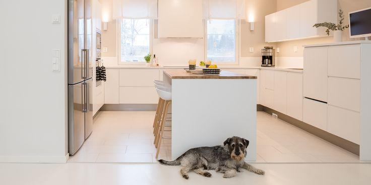 Keittiö on kodin sydän jossa koko perhe viihtyy. Valkoinen väri on raikas ja tunnelma on helposti muunneltavissa valaistuksella sekä katseen kiinnittäjillä.