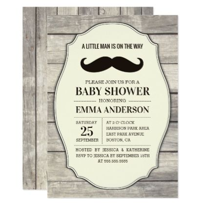 Rustic Wood Boy Baby Shower Invitation - Mustache - shower gifts diy customize creative