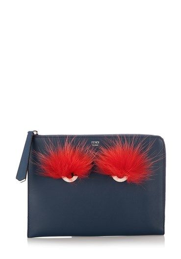 #Blue calf #leather and fox fur Bag Bugs #clutch from #Fendi featuring a zip fastening, a front centre logo stamp, an internal logo patch and a red #BagBugs #design to the front. http://bit.ly/1S0qg7a