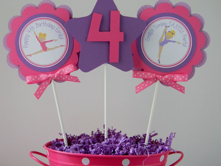 3 Gymnastics Birthday Party Centerpiece by sweetheartpartyshop, $10.00