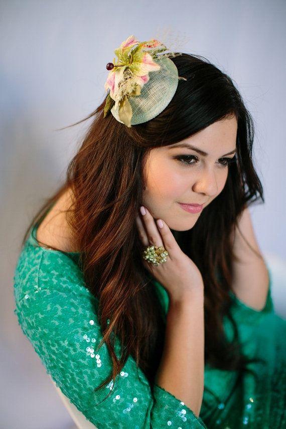 Green Bridesmaid Mini Hat Flower Fascinator Bridal di LoBoheme, $42.00