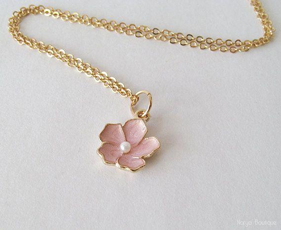 Pink Flower Necklace  Sakura Flower Necklace  16k Gold
